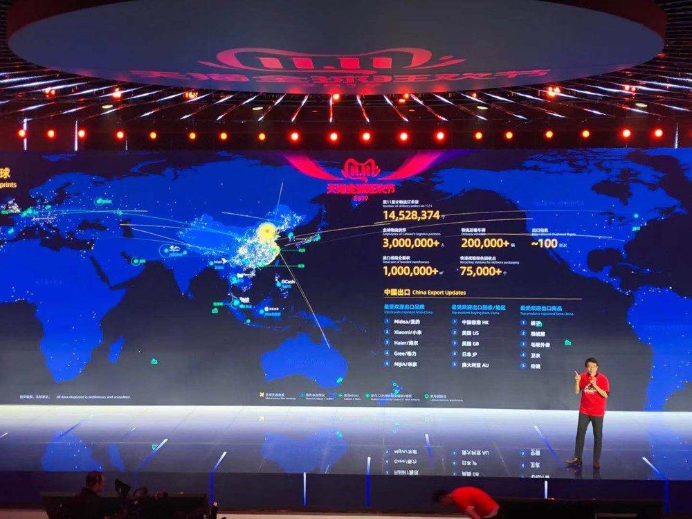 資料圖片:2019年11月11日,阿里巴巴的工作人員介紹公司全球銷售業績。 韓聯社