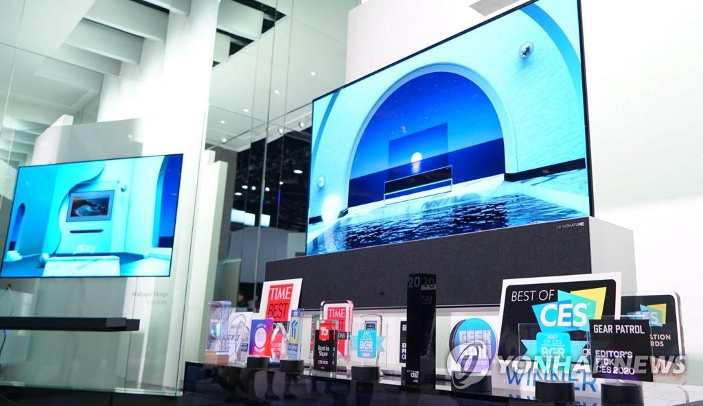 資料圖片:LG電子錶示,10日在2020年國際消費類電子產品展覽會(CES)上,公司OLED電視榮獲最佳電視獎。 韓聯社/LG供圖(圖片嚴禁轉載複製)