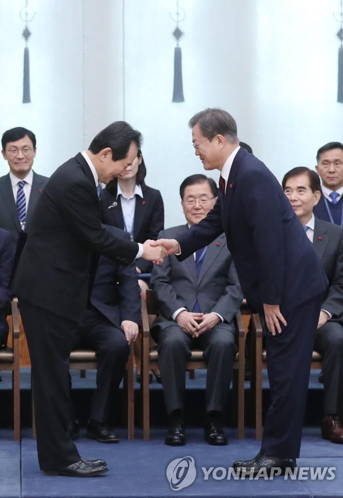 文在寅與新任總理丁世均