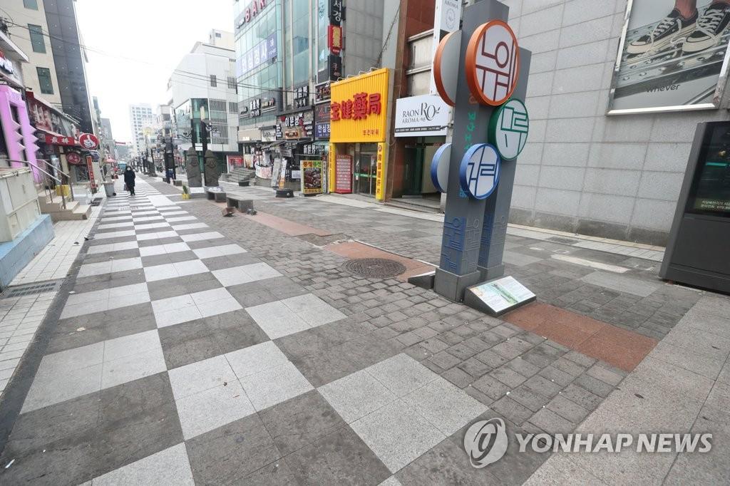 資料圖片:空蕩蕩的濟州街頭 韓聯社
