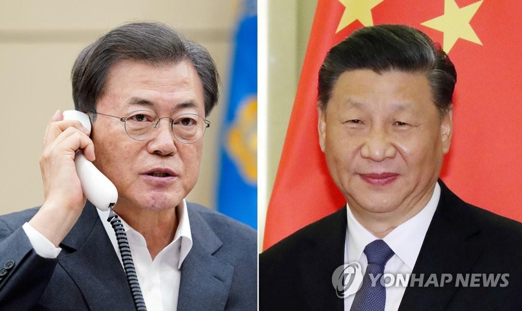 韓中領導人通電話共商抗疫