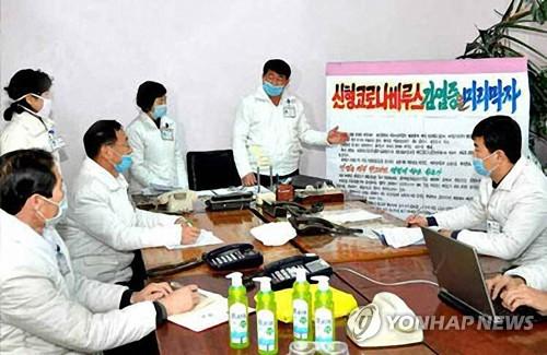 朝鮮醫務人員開會討論防疫
