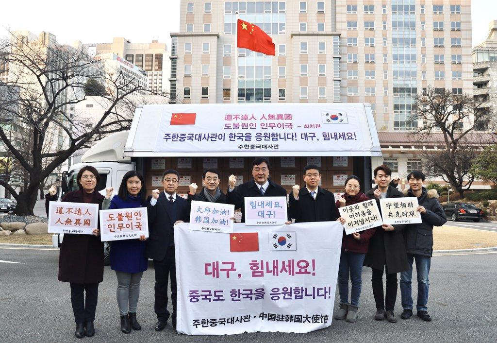 中國首批援助口罩明抵韓 出口同日啟動