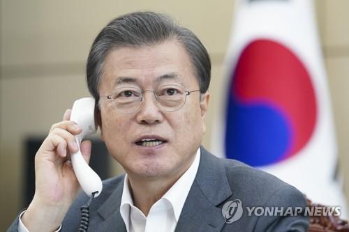 南韓總統文在寅與世衛組織總幹事譚德賽通電話