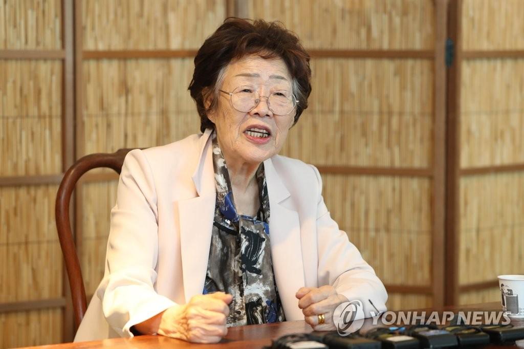 5月7日,在大邱一家茶館,日軍慰安婦受害老人李容洙舉行記者會譴責南韓慰安婦受害者援助團體。 韓聯社