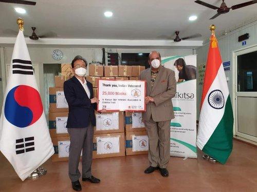 南韓向印度參戰老兵贈送口罩