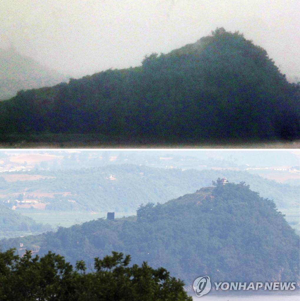資料圖片:6月24日,從京畿道坡州市鰲頭山展望臺,可以發現朝鮮已拆除對韓喊話設備(上圖)。下圖為前一天在相同位置的對韓喊話設備。 韓聯社