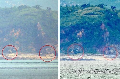 韓軍偵測到朝方海岸炮陣地關閉