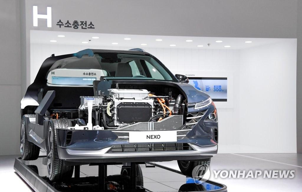 """資料圖片:現代汽車氫能電動汽車""""NEXO"""" 現代起亞汽車供圖(圖片嚴禁轉載複製)"""