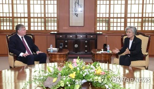 韓外長康京和會見美副國務卿比根