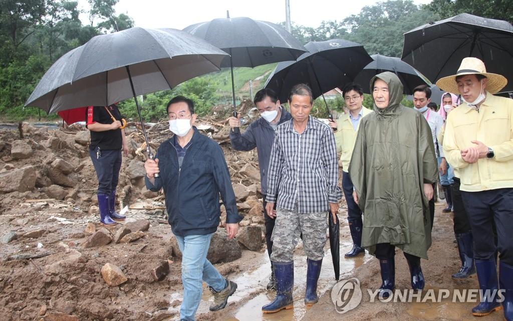 韓總理到訪災區