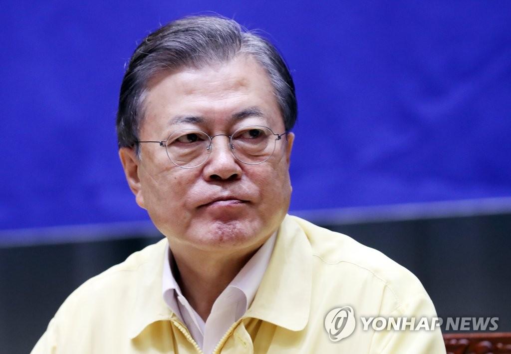 8月21日,在首爾市政府,文在寅檢查防疫情況。 韓聯社