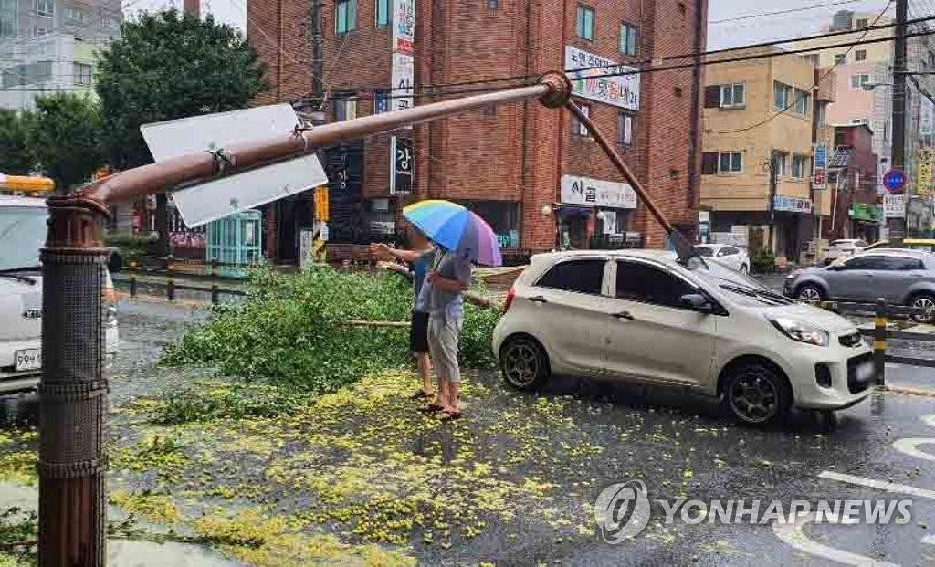 """9月7日,在慶尚南道昌原市,今年第10號颱風""""海神""""將路燈刮倒砸中一輛行駛中的汽車。 韓聯社/讀者供圖(圖片嚴禁轉載複製)"""