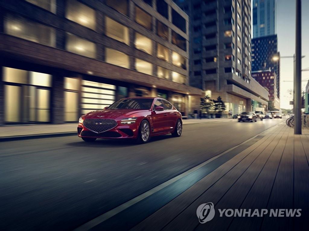 資料圖片:現代捷尼賽思公開的新款G70外觀 韓聯社/現代起亞汽車供圖(圖片嚴禁轉載複製)
