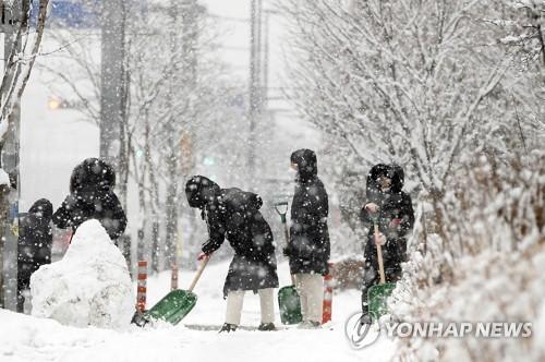 南韓南部暴雪