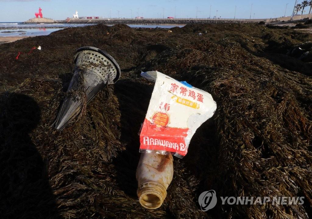 1月19日,在濟州道濟州市梨湖海水浴場,工作人員在清除自華流入的銅藻和海洋垃圾。 韓聯社