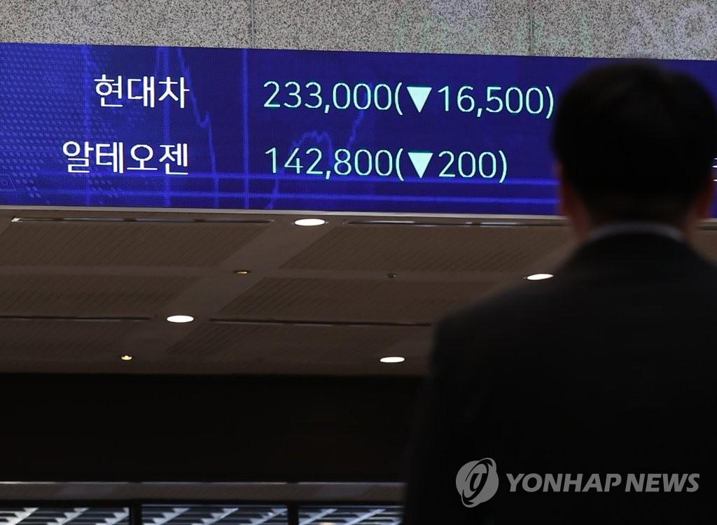 圖為2月8日南韓交易所的電子屏顯示現代汽車股價。 韓聯社