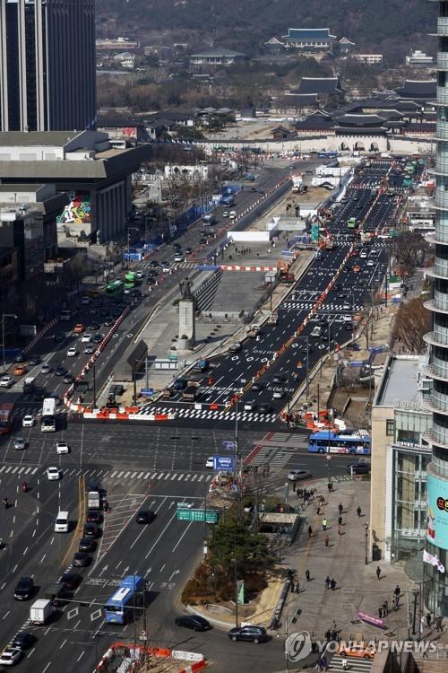 光化門廣場西側封路