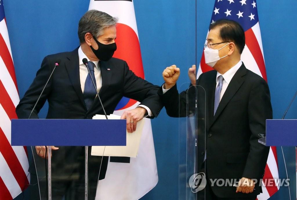 資料圖片:南韓外交部長官鄭義溶(右)和美國國務卿安東尼·布林肯 韓聯社/聯合攝影記者團