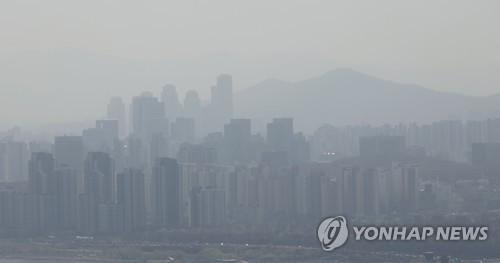 沙塵影響下南韓各地PM10濃度升高
