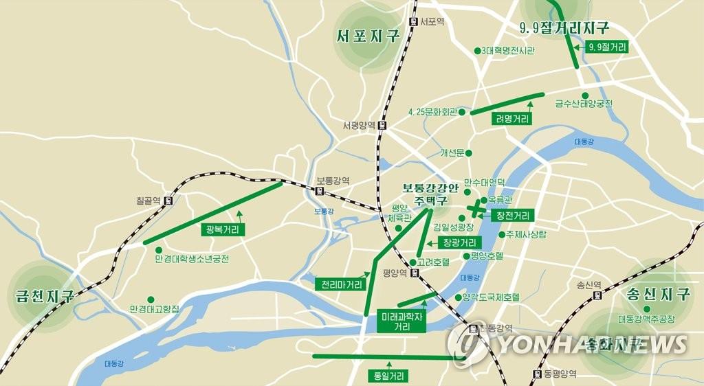 資料圖片:平壤郊區新建住宅區位置示意圖 韓聯社/朝中社(圖片僅限南韓國內使用,嚴禁轉載複製)