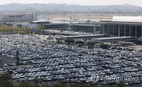 金浦機場停車場爆滿