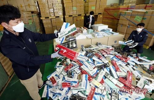 韓海關三年跨境查獲354萬盒走私香煙