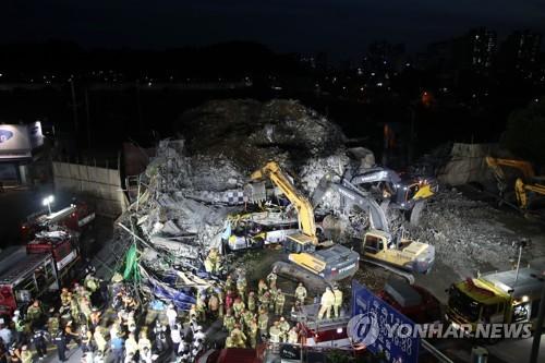 韓光州拆遷樓倒塌事故救援工作持續進行