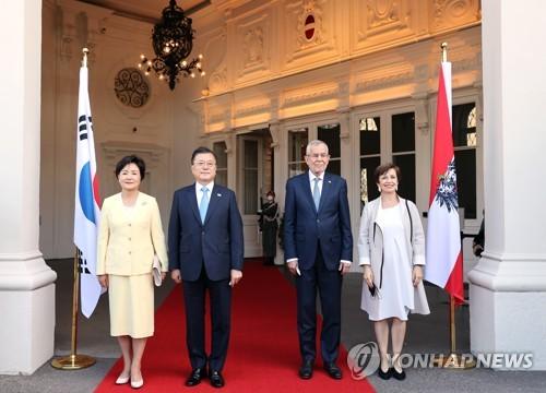 韓奧領導人伉儷合影