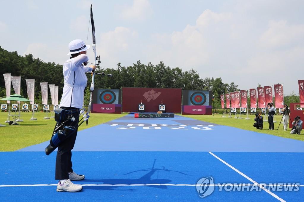 資料圖片:南韓射箭隊訓練現場 韓聯社