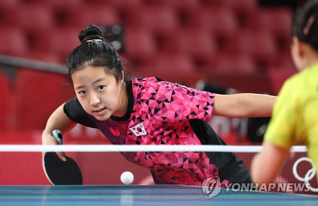 資料圖片:7月20日,在日本東京體育館,南韓乒乓球運動員申裕斌正進行訓練。 韓聯社