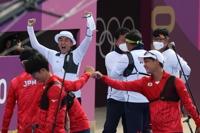 南韓射箭隊戰勝日本晉級東奧男子團體決賽