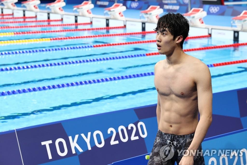 7月29日,在日本東京水上運動中心,南韓泳壇新星黃宣優在東京奧運會男子100米自由泳決賽上游出47秒82,排名第5,創下亞洲選手近69年來在奧運會上取得的最佳成績。 韓聯社