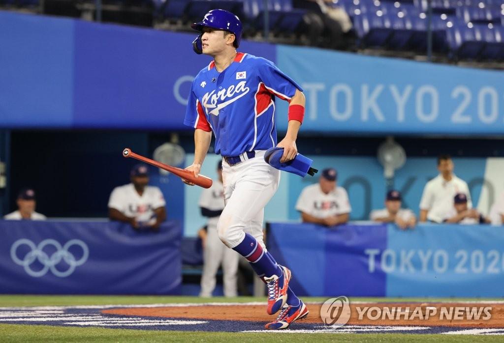7月31日,東京奧運會棒球分組迴圈賽B組第二輪南韓隊對陣美國的比賽在日本橫濱棒球場進行。圖為南韓隊樸海旻。 韓聯社