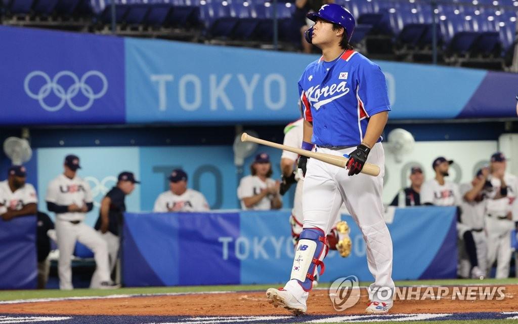 7月31日,東京奧運會棒球分組迴圈賽B組第二輪南韓隊對陣美國的比賽在日本橫濱棒球場進行。 韓聯社