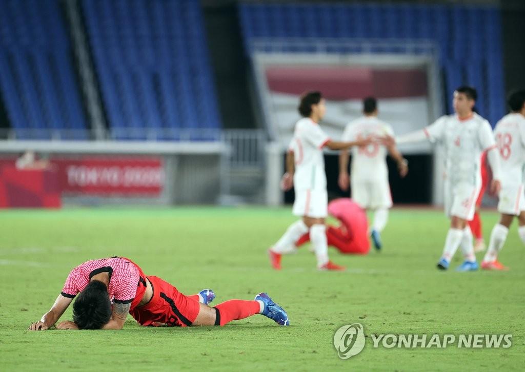 7月31日晚,東京奧運會男足八強賽全面開打,南韓隊不敵墨西哥隊,以3比6無緣4強。 韓聯社