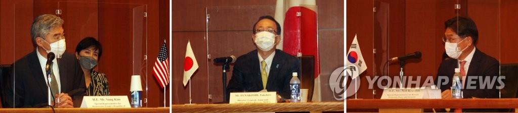 9月14日,在日本外務省國際會議室,美國對朝特別代表星·金(左起)、日本外務省亞洲大洋洲局局長船越健裕、南韓外交部韓半島和平交涉本部長魯圭悳舉行會議。 韓聯社