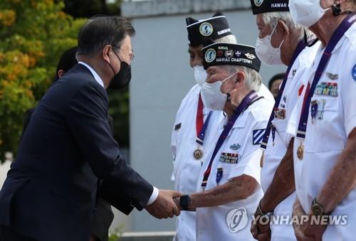 文在寅問候美軍韓戰參戰老兵