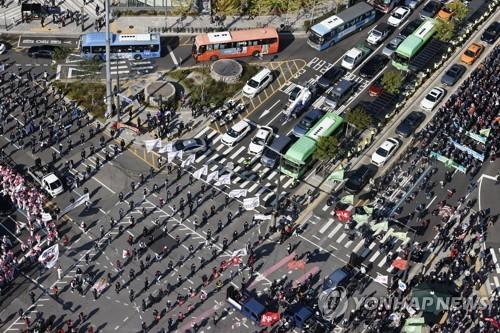 韓民主總工會組織罷工遊行