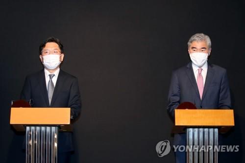 韓美對朝代表會見記者